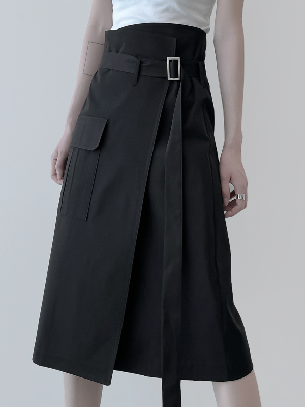 [mnem] belt wrap skirt (2color)